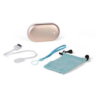 Внешний аккумулятор HW-55 5200mAh (золотистый) - Внешний аккумуляторУниверсальные внешние аккумуляторы<br>Портативный внешний аккумулятор HW-55 5200mAh с функцией грелки для рук, USB 5V 1.5A. В комплекте кабель, ремешок и чехол.
