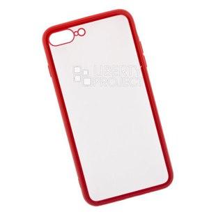 Чехол накладка для Apple iPhone 7 Plus, 8 Plus (LP 0L-00040387) (прозрачный, с красной рамкой) - Чехол для телефонаЧехлы для мобильных телефонов<br>Чехол обеспечит надежную защиту Вашего мобильного устройства от повреждений, загрязнений и других нежелательных воздействий.