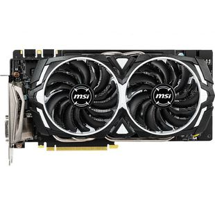 MSI GeForce GTX 1060 1544Mhz PCI-E 3.0 6144Mb 8008Mhz 192 bit DVI HDMI HDCP ARMOR (GTX 1060 ARMOR 6GD5X OC) RTL - ВидеокартаВидеокарты<br>1544 (1759 МГц, в режиме Boost)/8008МГц, 6144 Мб, GDDR5, 192 бит, DVI, DPx3, HDMI.