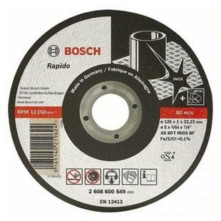 Диск отрезной 125х22.23 BOSCH 2608600549 - Отрезной дискДиски отрезные<br>BOSCH 2608600549 - отрезной диск, по металлу, диаметр 125 мм, посадочное отверстие 22.23 мм, 12250 об/мин.
