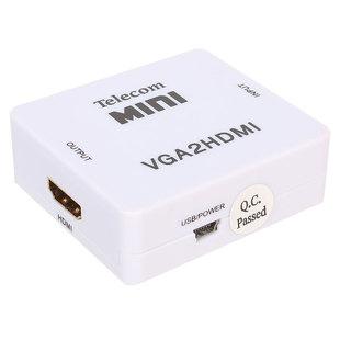 Конвертер HDMI (вход, выход)-VGA+minijack 3.5мм (Telecom TTC4025) (белый) - HDMI кабель, переходникHDMI кабели и переходники<br>Переходник для вывода изображения со звуком с ноутбука или компьютера с выходом VGA на проектор или монитор с HDMI-входом, питание от USB порта.