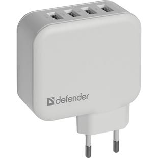 Универсальное сетевое зарядное устройство, адаптер 4хUSB, 6.2А (Defender UPA-60) (белый) - Сетевой адаптер 220v - USB, ПрикуривательСетевые адаптеры 220v - USB, Прикуриватель<br>Встроенная Смарт-система распределения токов. Защита от перегрузки и короткого замыкания