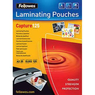 Пленка для ламинирования 125 мкм, А3, 303х426 мм (Fellowes FS-53965) (25 шт) - Пленка глянцеваяПленка глянцевая<br>Пленка для горячего ламинирования FS-53965 глянцевая, с высоким содержанием полиэтилентерефталата (50%). Используется для защиты документов от влаги, загрязнения, механических повреждений, придания жесткости и яркости. Обладает высокой прозрачностью.
