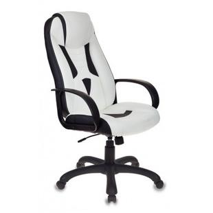 Кресло игровое Бюрократ VIKING-8/WH+BLACK - Стул офисный, компьютерныйКомпьютерные кресла<br>Механизм качания с возможностью фиксации кресла в рабочем положении. Регулировка высоты (газлифт). Пластиковая крестовина. Ограничение по весу: 180 кг.