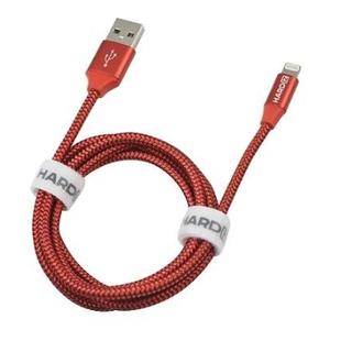 Кабель USB-Lightning 1.2м (Hardiz HRD505202) (красный) - КабелиUSB-, HDMI-кабели, переходники<br>Кабель для зарядки и синхронизации, тип USB 2.0, высококачественная тетроновая оплетка, длина 1.2м.