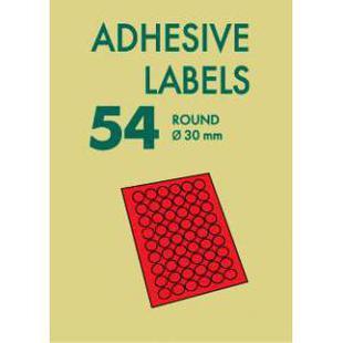 Универсальные этикетки Lomond А4 (2113005) (красный) - Универсальная этикетка А4Универсальные этикетки А4<br>Самоклеящаяся бумага для лазерной печати красная, 54 деления, круглые, радиус 30мм.