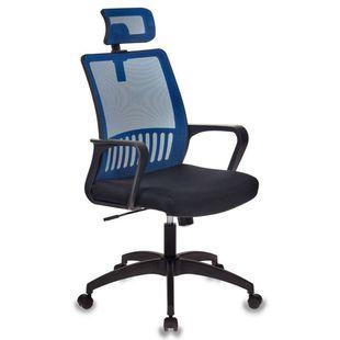 Бюрократ MC-201-H/BL/TW-11 (черный, синий) - Стул офисный, компьютерныйКомпьютерные кресла<br>Механизм качания с фиксацией в вертикальном положении. Регулировка высоты (газлифт). Подлокотники пластиковые. Подголовник регулируемый по высоте. Ограничение по весу: 120 кг.