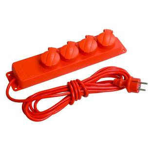 Удлинитель 4 розетки 5м (Iek WYP10-16-04-05-44-N) (красный) - Сетевой фильтрУдлинители и сетевые фильтры<br>Удлинитель У04В 4 места с защитными крышками, IP44, 5метров, 3х1мм2, 16А/250В.
