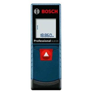 Лазерный дальномер BOSCH GLM 20 Professional - Измерительный инструментИзмерительный инструмент<br>Лазерный дальномер BOSCH GLM 20 Professional - тип: лазерный, дальность измерения (без отражателя): 20 м, минимальное расстояние измерений: 15 см, точность измерения: 3 мм, количество точек начала отсчета: 1, подсветка дисплея, автоотключение, функция непрерывного измерения, максимальное время измерений: 0.50 c, встроенная память, тип электропитания: батарейки, батарейки (аккумулятор) в комплекте, количество батареек: 2, класс защиты: IP54, класс лазера: 2, длина волны: 635 нм, внесен в госреестр, вес: 130 г