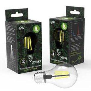 Светодиодная фито лампа Gauss LED Fito Filament A60 6W E27 (102802906) - Лампочка