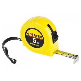 Рулетка Stayer MaxTape 34014-05-19 - Измерительный инструментИзмерительный инструмент<br>Рулетка строительная используется при выполнении измерительных работ, пластиковый корпус, ремешок для ношения на руке, 5м/19мм