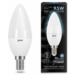 Лампа светодиодная gauss LED Candle E14 9.5W 950lm 4100К E14, C37, 9.5Вт, 4100К - Лампочка