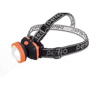 Светодиодный налобный фонарь Perfeo PF_A4447 - ФонарьФонари<br>Освещение: 100LM. Источник света: COB. Потребляемая мощность: 1W. Батарея: 3 х AАA батареи (в комплект не входят). Сферическая линза. Расстояние освещения: 50 м. Три режима свечения.