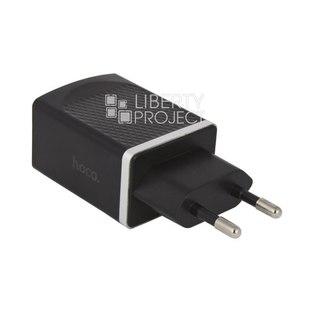Универсальное сетевое зарядное устройство, адаптер 1хUSB, 3А (HOCO C42A) (черный) - Сетевой адаптер 220v - USB, ПрикуривательСетевые адаптеры 220v - USB, Прикуриватель<br>Зарядка мобильного устройства от сети переменного тока, 3А.