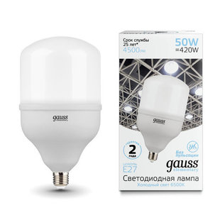 Светодиодная лампа Gauss Elementary LED T140 E27 50W 4500lm 180-240V 6500K (63235) - ЛампочкаЛампочки<br>Мощность: 50 Вт. Цветовая температура: 6500K. Цоколь: E27. Напряжение питания, V: 180-240 В/50 Гц. Световой поток: 4500 Lm. Размеры: 137x252 мм. Срок службы, ч: 25000.