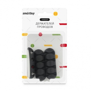 Smartbuy SBO-960b (черный) - Держатель проводовДержатели для проводов<br>Набор держателей для проводов, quot;линейныйquot;, 3 штуки, 4 посадочных места, размер: 6.4х2 см.