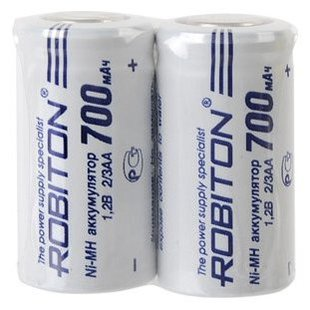 Аккумулятор 2/3AA Ni-Mh 700 мА·ч ROBITON 700MH2/3AA-2 SR2 - Батарейка, аккумулятор