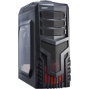 Exegate EVO-8204N 600W Black-Red light (EX277154RUS) (черный) - КорпусКорпуса<br>Корпус, ATX, mATX, Midi-Tower, 600 Вт, с окном, 2xUSB 2.0, USB 3.0, Audio, окно на боковой панели, съемные салазки для SSD 2 шт., безвинтовое крепление жеских дисков, пылевые фильтры на верхней панели, съемный внешний фильтр на нижней панели, заглушки внешних отсеков 5.25quot; на защелке