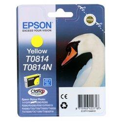 Картридж для Epson Stylus Photo R270, 390, RX590 (Epson  T11144A10 замена T0814) (желтый) (повышенной емкости) - Картридж для принтера, МФУКартриджи<br>Совместим с моделями: Epson Stylus Photo 1410, R270, R290, R295, R390, RX590, RX610, T50, T59, TX710W, TX800FW, TX650, TX659, TX700W.