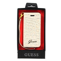 чехол для apple iphone 5 (guess guwap5crb wallet case croco) (бежевый)