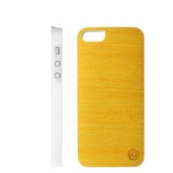 чехол для apple iphone 5, 5s (man&wood is553aw lemon tree) (бело-желтый)