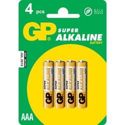 Алкалиновая батарейка AAA (GP 24A-BC4) (4 шт)   - Батарейка, аккумуляторБатарейки и аккумуляторы<br>С батарейкой GP Ваше цифровое устройство проработает дольше и не подведет в самый ответственный момент. Не содержит ртути