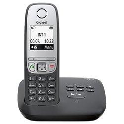 Gigaset A415AM (черный) - РадиотелефонРадиотелефоны<br>Gigaset A415A - комплект из базы и трубки, поддержка стандартов DECT/GAP, цифровой автоответчик на 20 минут, громкая связь (спикерфон), определитель номеров (АОН/Caller ID), аккумуляторы: AAAx2, монохромный дисплей на трубке