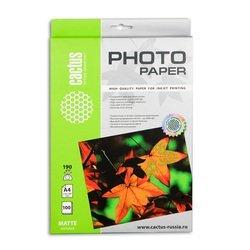 Фотобумага матовая А4 (100 листов) (Cactus CS-MA4190100) - БумагаОбычная, фотобумага, термобумага для принтеров<br>Предназначена для печати цифровых фотографий с максимальным разрешением.