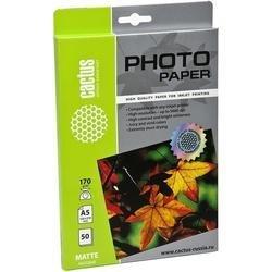 Фотобумага матовая А5 (50 листов) (Cactus CS-MA517050) - БумагаОбычная, фотобумага, термобумага для принтеров<br>Будет незаменима при высококачественной печати фотографий.