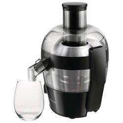 Philips HR1832/02 (черный) - Соковыжималка электрическаяСоковыжималки<br>Philips HR 1832 - для всех видов фруктов, мощность 500 Вт, стакан для сока в комплекте, подача сока сразу в стакан, противокапельная система, автоматический выброс мякоти, корпус из пластика