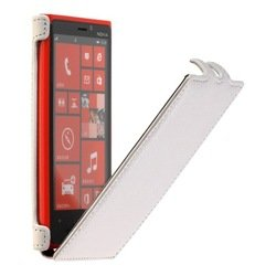 чехол-флип для nokia lumia 920 (smartbuy full grain) (белый)
