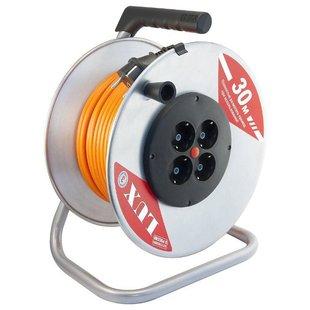 LUX Удлинитель силовой на металл. катушке К4-Е-30 ПВС 3x1.5 30м, 16А, 4 встр. розетки с з/к - Удлинитель
