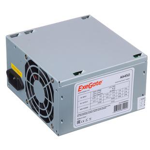ExeGate AA450 450W с кабелем с защитой от выдергивания - Блок питанияБлоки питания<br>Блок питания ATX мощностью 450 Вт, охлаждение: 1 вентилятор (80 мм), уровень шума 30 дБА, с кабелем 220В с защитой от выдергивания