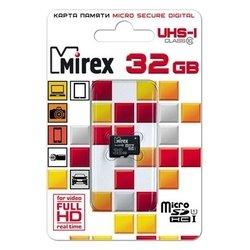 Mirex microSDHC Class 10 UHS-I U1 32GB - Карта флэш-памятиКарты флэш-памяти<br>Mirex microSDHC Class 10 UHS-I U1 32GB - карта памяти microSDHC, Class 10, объем 32 Гб, скорость чтения 104 Мб/с, скорость записи 45 Мб/с
