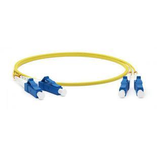 Патч-корд LC/UPC-LC/UPC 3м (Hyperline FC-D2-9-LC/UR-LC/UR-H-3M-LSZH-YL) (желтый) - КабельСетевые аксессуары<br>Патч-корд волоконно-оптический, SM 9/125 (OS2), LC/UPC-LC/UPC, duplex, LSZH, 3 м
