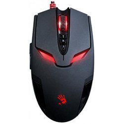 Мышь A4Tech Bloody V4M USB (черный) - АксессуарКлавиатуры, мыши, комплекты<br>Изменение чувствительности сенсора кнопкой, максимальное ускорение 30 G, металлические ножки.