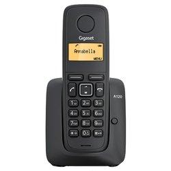 Gigaset A120 (черный) - РадиотелефонРадиотелефоны<br>Gigaset A120 - комплект из базы и трубки, поддержка стандартов DECT/GAP, определитель номеров (АОН/Caller ID), аккумуляторы: AAAx2, монохромный дисплей на трубке