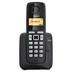 Gigaset A220 (черный) - РадиотелефонРадиотелефоны<br>Gigaset A220 - комплект из базы и трубки, поддержка стандартов DECT/GAP, громкая связь (спикерфон), определитель номеров (АОН/Caller ID), аккумуляторы: AAAx2, монохромный дисплей на трубке, полифонические мелодии