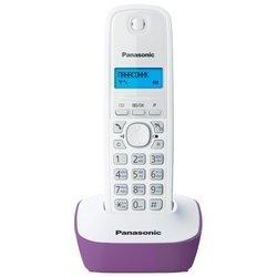 Panasonic KX-TG1611 (бело-сиреневый) - РадиотелефонРадиотелефоны<br>Panasonic KX-TG1611 - комплект из базы и трубки, стандарт DECT, определитель номеров (АОН/Caller ID), аккумуляторы: AAAx2, монохромный дисплей на трубке