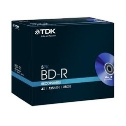 Диск BD-R TDK 25Gb 4x Jewell case (5 шт) (t78008)
