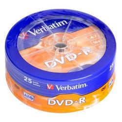 Диск DVD-R Verbatim 4.7Gb 16x AZO Matt silver Wagon wheel (25 шт) (43730) - CD, BD дискCD, BD диски<br>DVD-R Verbatim - это записываемые диски емкостью 4.7 Гб. В дисках Verbatim DVD-R используется технология MKM, обеспечивающая непревзойденное качество записи. Диски этого формата соответствует спецификациям DVD-Forum.
