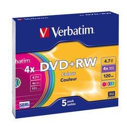 Диск DVD+RW Verbatim 4,7Gb 4x Slim Case Color (5шт) (43297) - CD, BD дискCD, BD диски<br>DVD+RW Verbatim - это перезаписываемые диски емкостью 4.7 Гб. В дисках Verbatim DVD+RW используется специальная технология Verbatim, обеспечивающая непревзойденное качество записи. Этот формат соответствует спецификациям +RW-Alliance. Диски DVD+RW рассчитаны на 1000 циклов перезаписи.