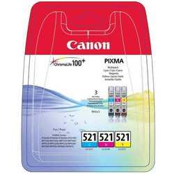 Набор картриджей для Canon PIXMA iP3600, iP4600, MP540, MP620, MP630, MP980, MP990, MP550, MP640, MX860, iP4700 (CLI-521CMY 2934B010) (голубой, пурпурный, желтый)  - Картридж для принтера, МФУКартриджи<br>Совместим с моделями: Canon PIXMA iP3600, iP4600, MP540, MP620, MP630, MP980, MP990, MP550, MP640, MX860, iP4700.