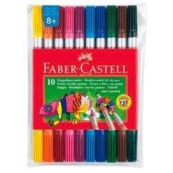 Фломастеры Faber-Castell 151110 двухсторонние 10 цветов в футляре - ФломастерФломастеры<br>Вес (кг) 0.11, Объем (м3) 0.0003