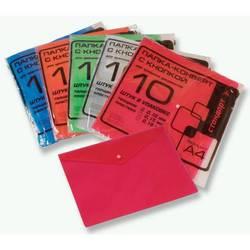 Конверт на кнопке Бюрократ PK100 (красный) - Папка на кнопкеПапки на кнопке<br>Конверт на кнопке Бюрократ PK100A - тисненый, А4, пластик 0.10мм