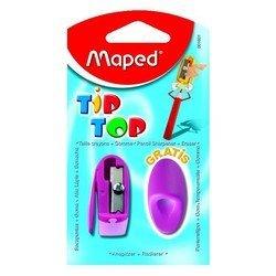 Набор Maped Tip Top: точилка 1 отверстие и ластик-насадка на карандаш - ТочилкаТочилки<br>Вес (кг) 0.012, Объем (м3) 0.00013