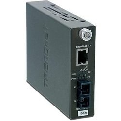 Медиаконвертер TRENDnet TFC-110S15i  - Медиаконвертер, трансиверМедиаконвертеры, трансиверы<br>Одномодовый оптоволоконный медиаконвертер с оптическим портом 100Base-FX разъёма SC, поддерживающим работу на расстоянии до 15 км, и Ethernet-портом 100Base-TX.