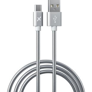 Кабель USB-USB Type-C 1м (Flexis Metal FX-CAB-MTTC-SV) (серебристый) - КабелиUSB-, HDMI-кабели, переходники<br>Кабель для зарядки и синхронизации, разъемы USB-USB Type-C, тип USB 2.0, ток 2А, длина 1м.