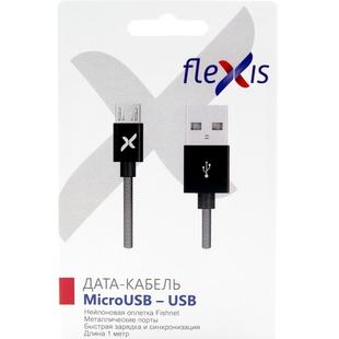 Кабель USB-microUSB 1м (Flexis Fishnet FX-CAB-FNMU-BL) (черный)  - КабелиUSB-, HDMI-кабели, переходники<br>Кабель для зарядки и синхронизации, разъемы USB-microUSB, тип USB 2.0, нейлоновая оплетка, длина 1м.