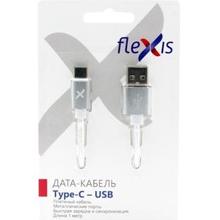 Кабель USB-USB Type-C 1м (Flexis Braided FX-CAB-BDTC-SV) (серебристый)  - КабелиUSB-, HDMI-кабели, переходники<br>Кабель для зарядки и синхронизации, разъемы USB-Lightning, тип USB 2.0, плетеный, длина 1м.